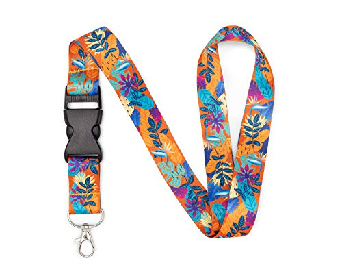 Floral Neck Lanyard with Metal Clasp - Office, School, Home - Id Badge, Keys, Card, Security Pass, USB, and Lightweight Accessories - Premium Quality, Pretty, Fashionable (Tropical Orange)