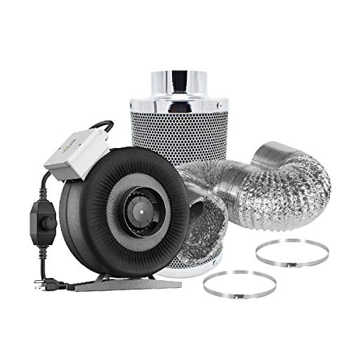 iGrowtek 6 Inch Air Filtration Kit: 6 Inch 135W 440 CFM Inline Fan with Speed Controller, 6 Inch Carbon Filter and 8 Feet of Ducting for Grow Tent Ventilation