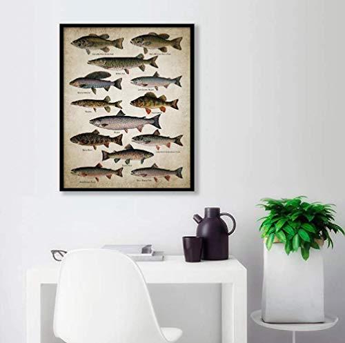 DPFRY Leinwand Kunstdrucke Angelwand Leinwand Poster Fischarten Süßwasserfisch Wand Wohnkultur Bild Yc26Zt 40X60Cm Ohne Rahmen