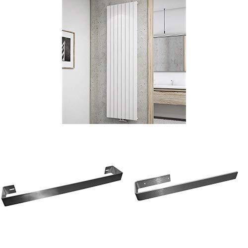 Schulte Design-Heizkörper Aachen, 180 x 61 cm, Schulte Handtuchhalter, 65 cm und Schulte Handtuchhalter,  edelstahl gebürstet