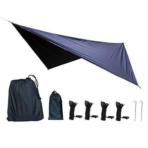 ZUQIEE Hammock Waterproof Hammock Tarpaulin 360x290Cm Outdoor Camping Tent Sun Awning Camping Hammock Awning Outdoor Camping Canopy Weatherproof Sunscreen Fly-Proof Diamond Canopy-Black