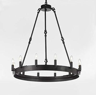 "Wrought Iron Vintage Barn Metal Castile One Tier Chandelier Chandeliers Industrial Loft Rustic Lighting W 26"" H 27"""