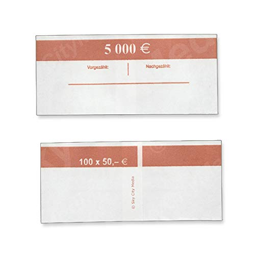 Banderolen für Euro Geldscheine je 50x (50 € Banderole) Geldbanderole Papier für Geldbündel Fassungsvermögen je 100 Scheine