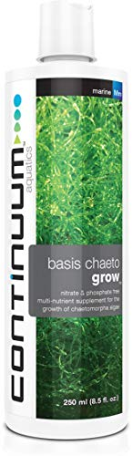 Continuum Aquatics Basis Chaeto Grow - Liquid Multinutrient Supplement for Growth of Chaetomorpha Algae, Nitrate and Phosphate Free