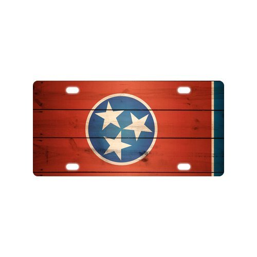 6' x 12' Durable License plate, Metal personalized car tag, Tennessee State Flag, American State Flag car tag (4 Holes)