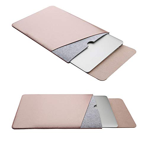 Mouse Pad Pouch Notebook Case for Xiaomi MacBook Air 12 13 Cover Retina Pro 13.3 15 15.6 Fashion Laptop Sleeve Leather Bag-Rose Gold_13-inch