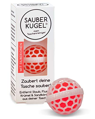 SAUBERKUGEL® für die Tasche | Antibakteriell mit Silber-Ionen | Wiederverwendbarer Taschenreiniger für Handtasche, Schulranzen & Rucksäcke | Nimmt Schmutz auf | Silikonfrei (3,5 cm)