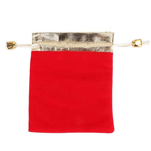 Omabeta Tela flocada de una Cara Bonita con diseño de cordón Bolsa de joyería fácil de Usar para Guardar Regalos(Scarlet, 10 * 12.5cm)