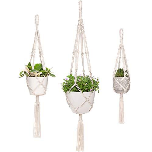 Mkouo Macrame Plant Hangers 3 Different Sizes Hanging Planter for Indoor Outdoor Flower Pot Holder Boho Home Decor