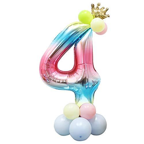 Foil Globo Número Arcoiris 24 Piezas, Gigante Numeros 40 Pulgadas Grande Globos para Cumpleaños, La Boda Aniversario, Fiesta y Hogar Decoración, Adultos y Niños (Número 4)