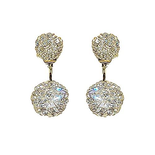 Delisouls Pendientes de gota con forma de bola de diamante hueco para mujer, pendientes colgantes con incrustaciones de circonita, regalos de joyería de moda para mujeres y niñas