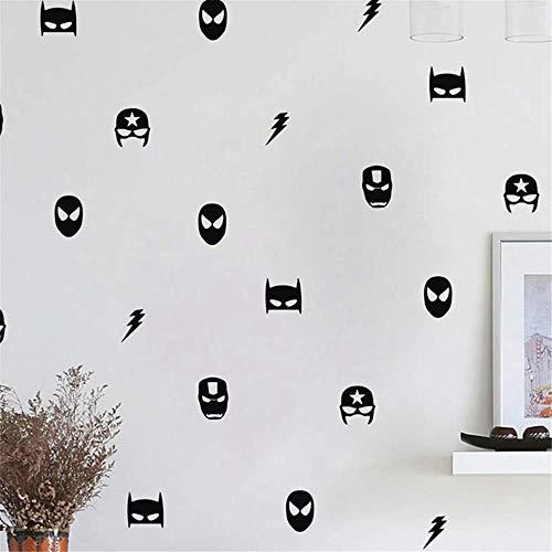 Pegatinas de pared de Disney en blanco y negro para inodoro, diseño de siluetas de hombre y mujer, Super-héros mixte
