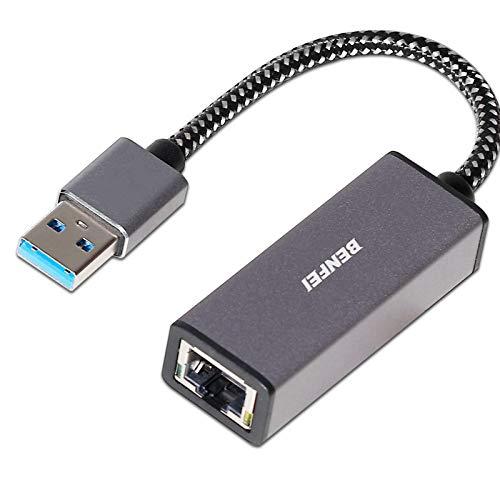Adaptateur USB 3.0 vers Ethernet, BENFEI USB vers RJ45 10/100/1000 Gigabit Ethernet LAN adaptateur Compatible pour MacBook, Surface Pro, ordinateur portable Windows 7/8/10, XP, Vista, Mac