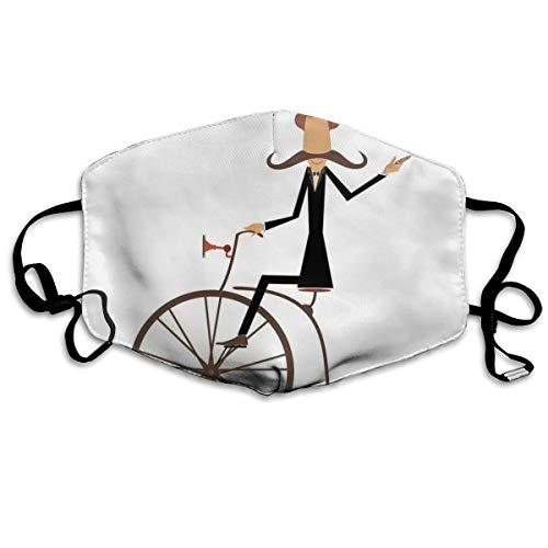 Gentleman Met Snor Top Hoed Paraplu Retro Bike En Roken Een SigarPrinting Veiligheid Mond Cover voor Volwassenen