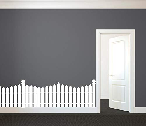 CLIFFBENNETT White Picket Fence - Wall Decal Custom Vinyl Art Stickers for Nurseries, Kids Rooms, Classrooms, Hallway Decor