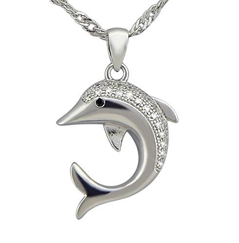 veuer gioielli per donna argento Delfin di placcato argento ragazza pendente della collana catena regalo da Natale per le donne, Fidanzata, matrimonio della Donna