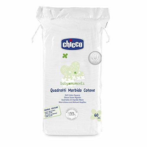 Chicco Quadrotti in Cotone, Bianco - 3 confezioni da 60 pezzi [180 pezzi]