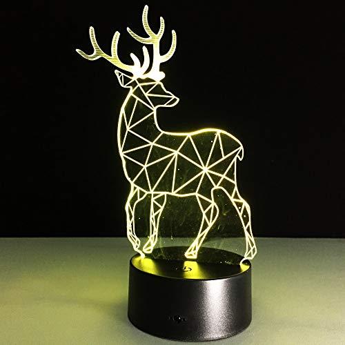 Deer Plastic Handcraft Christmas Toy Plug Night Light 3D LED Lámpara de mesa niños regalo de cumpleaños decoración de la habitación junto a la cama