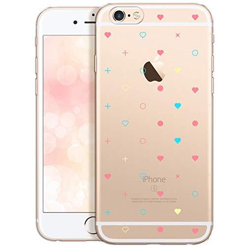 QULT Carcasa para Móvil Compatible con iPhone 6 iPhone 6s Funda Silicona Transparente con Dibujo Transparent Suave Slim Case Mini Corazones