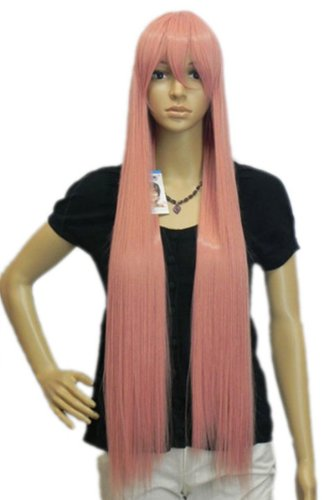 Qiyun Cosplay Costume Anime Smoke Pink Complete Frange Longue Raide Cheveux Complete Perruque