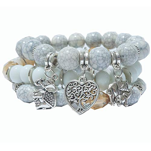 Connexx Henry Inc Beaded Bracelets for Women – Good Luck Charm Bracelet with Elegant Box Packaging – Cute Elephant Beaded Bracelets – One Size Fits MOST – Ideal for Birthday, Anniversary – White Grey