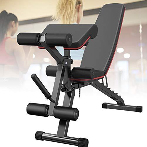 HNWTKJ Banco de Pesas Ajustable para Fitness, Banco de Musculación Multifunción para Entrenamiento de Cuerpo Entero, Respaldo Abatible, Diseño Compacto, Antideslizante