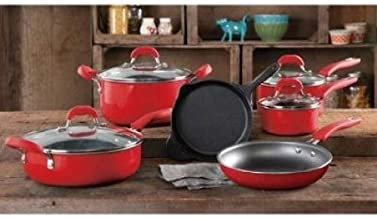The Pioneer Woman Vintage Speckle 10-Piece Non-Stick Pre-Seasoned Cookware Set, Red Dishwasher Safe