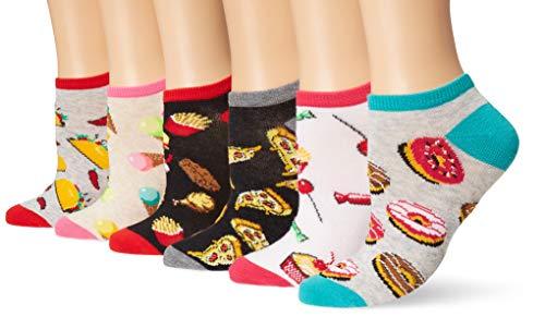 K. Bell Meias femininas de corte baixo invisíveis, pacote com 6, Donuts (cinza mesclada sortida), Shoe Size: 4-10