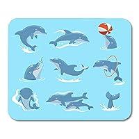 マウスパッド海かわいい9匹のイルカコレクションボールで遊んで赤いリングジャンプ2と水泳水生マウスマットマウスパッド