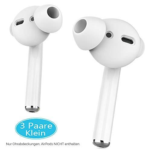 AhaStyle Silikon Ohrpolster Ohrstöpsel aus Silikon - Ohrstöpsel Anti-Rutsch Schutz Headset mit Silikon-Aufbewahrungshaken Tasche für Apple AirPods 2 & 1 und EarPods (3 Paare Klein, Weiß)