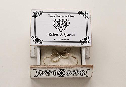 Celtic ring box, Wedding ring box, Ring bearer box, Infinity Heart Wedding box Personalized wedding box, Ring Bearer Pillow, Engagement box, Custom Wedding Ring Box Wedding Ring Holder