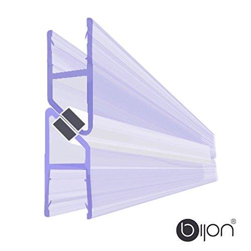 BIJON Magnet-Duschdichtung SET, Duschtürdichtung mit weißen Magneten, Dichtung Dusche Glastür für 180 Grad, 200cm, Glasstärke Duschdichtung 7mm - 8mm