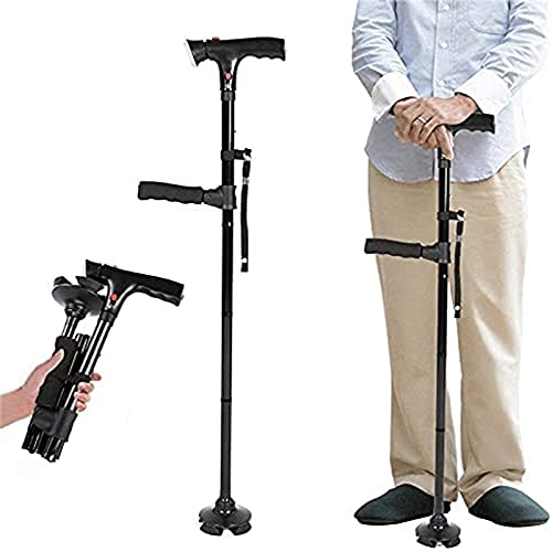 wgkgh Clever Cane met LED-licht, oude man krukken met dubbele armleuningen en alarmen Aluminiumlegering telescopische vouwen, Geschikt voor gehandicapten en ouderen