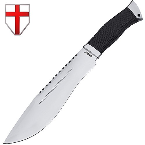 Jungle Rambo Bowie Survival Knife - Big Survival Knife with Spear Point Blade - Large Survival Fix Knife with Black Rubber Handle - Best 440C Steel Kukri Fixed Blade Knife - Grand Way 12 UP
