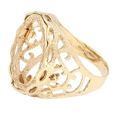 Jollys Jewellers Anillo de oro amarillo de 9 quilates para hombre (talla Q), cabeza de 21 mm