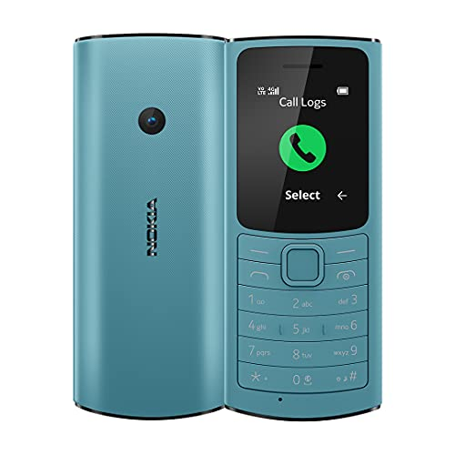 Nokia 110 4G with Volte HD Calls, Up to 32GB External Memory, FM Radio (Wired & Wireless Dual Mode), Games, Torch | Aqua