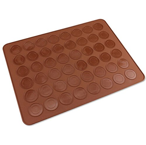 Happyhomin 48-Capacity Silicone Macaron Macaroon Mat Fondant Oven Baking Mat DIY Sheet Cake Molds