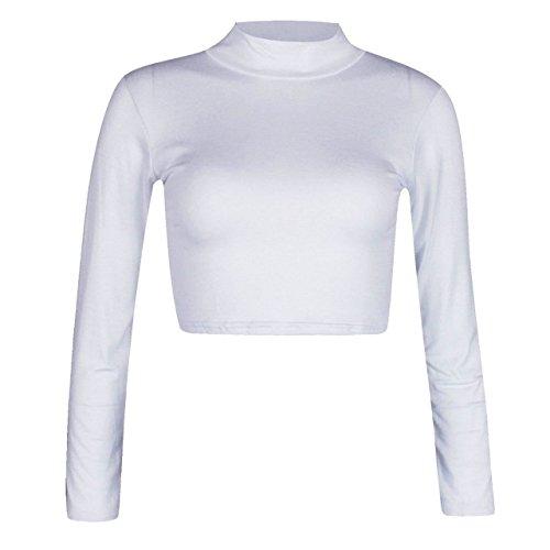Islander Fashions para Mujer de Manga Larga con Cuello Alto de Tortuga Crop Top para Mujer Plain Fancy Party Top Corto S/M, M/L