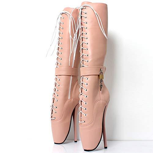 HOMDREAM Ankle Ballet Boots Sexy Knöchel Ballett Stiefel Super High Spike Ferse Ballettstiefel Benutzerdefinierte,Beige-EU-36