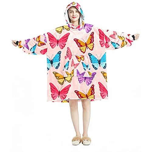 Sudadera con capucha, casual de microfibra suave, camisón cálido para hombres y mujeres con diseño de enjambre de mariposa rosa