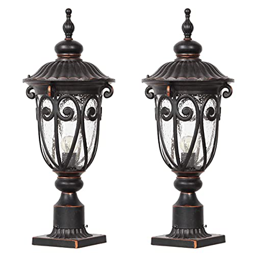 """Goalplus Outdoor Post Light Fixture with Pier Mount Vintage Post Lamp for Yard 60W E26 Post Lantern in Bronze Finish with Seeded Glass Shade, 24"""" High, IP44 Waterproof, 2 Pack, LM0519-M-2P"""