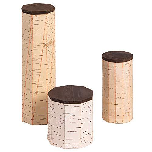 MOYA 3-delige set voorraaddozen/vershouddozen van natuurlijke antibacteriële en vochtafstotende berkenschors - opbergdoos met houten deksel - spaghetti-muesli-theedoos met naden