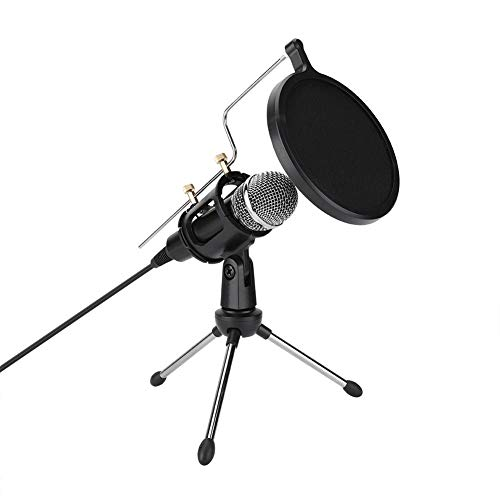 USB-condensatormicrofoon, laag geluidsniveau, met beugel, voor alle soorten desktop of laptop, voor karaoke, spraakopnames, games, internetvideochats en videoconferenties
