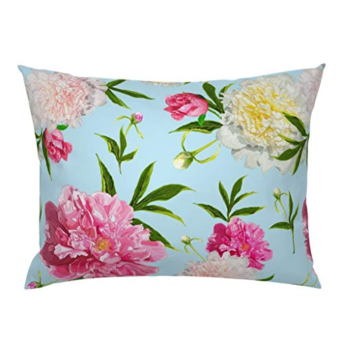 Why Choose Roostery Pillow Sham, Peony Paeonia Pink Light Yellow Flower Floral Print, 100% Cotton Sa...