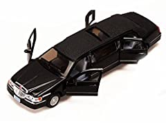 """1/38 scale diecast collectible model car. This 1999 Lincoln Limo is a 7"""" diecast metal pullback vehicle. Openable front and back doors, sunroof, hood. BLACK color. This 99 Lincoln Limousine is manufactured by Kinsmart."""