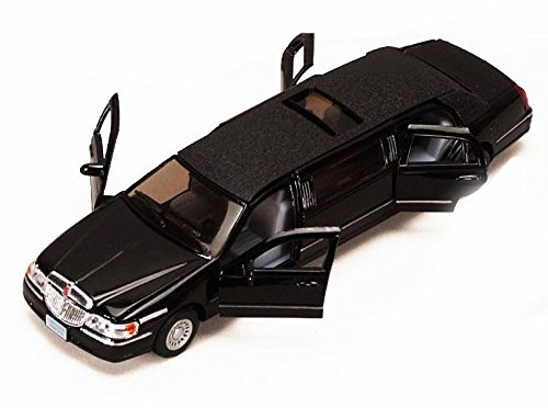 Kinsmart 1/38 Scale Diecast 1999 Lincoln Town Car Stretch Limousine in Color Black