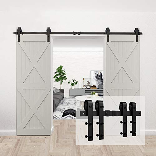 "Homlux 10ft Heavy Duty Sturdy Sliding Barn Door Hardware Kit Double Door - Smoothly and Quietly - Simple and Easy to Install - Fit 1 3/8-1 3/4"" Thickness Door Panel(Black)(J Shape Hangers)"