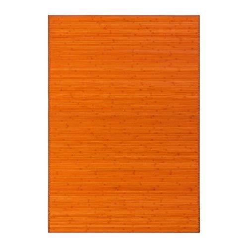 Alfombra de salón o Comedor Oriental Naranja de bambú de 140 x...