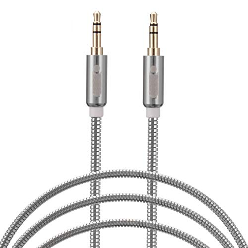 Jouxy MQ293 Aux Cable Wire with Metal Head Supported with Cars | Speakers | Phone's | Tablet's | Laptop's & Many More (Random-Color)