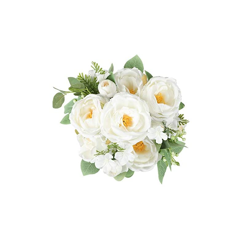 silk flower arrangements floweroyal artificial peony vintage faux camellia silk flowers bridal bouquets with 6 bloomed flower heads for wedding table centerpieces home floral arrangements (white)